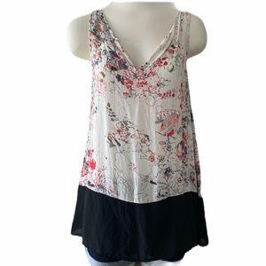 Tops - Floral Sheer Black Red Sleeveless V Neck Top